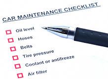 Pen and blank checklist. Car maintenance Royalty Free Stock Image