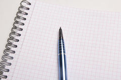 Pen on blank note book with checked pages Stock Image
