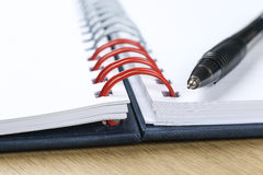 Pen and blank opened notebook. Business , education Royalty Free Stock Photography