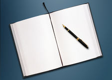 A pen and blank paper on the table Stock Photos