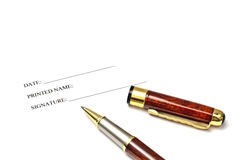 Pen and blank signature paper Royalty Free Stock Photography