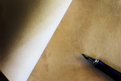 Pen with blank white paper Royalty Free Stock Photo