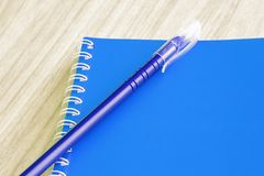 Blank blue book empty cover book spiral stationery school supplies for education business idea book cover design note pad memo on royalty free stock photo