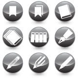 Pen Books Bookmarks  icons  illustration with black background. Stock Photography