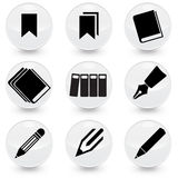 Pen Books Bookmarks vector icons. Pen Pencil books bookmarks vector Royalty Free Stock Photos