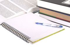 Pen, books and notebook Stock Image