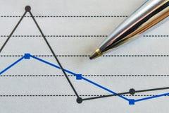 Pen and a graph. Pen and a broken line graph representing certain data flow royalty free stock photos