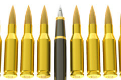 Pen and bullets, 3D rendering. Pen and bullets, information war concept Stock Photos