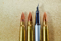 Pen and bullets Royalty Free Stock Images