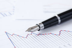 Pen and business graph Royalty Free Stock Image