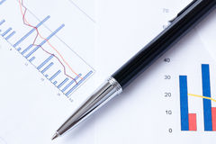 Pen and business graph Royalty Free Stock Photo