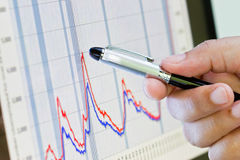Pen on business graph Royalty Free Stock Photo