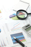 Pen, business items, and business documents with numbers and charts. Royalty Free Stock Image