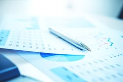 Pen on the business paper. Report chart Royalty Free Stock Images