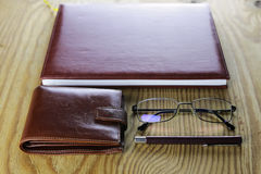 Pen business wallet glasses notebook Stock Photos