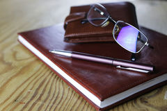 Pen business wallet glasses notebook Royalty Free Stock Photos