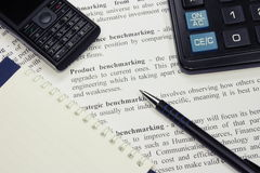 Pen and Calculator Royalty Free Stock Images