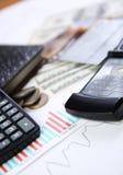 Pen and calculator Stock Photos