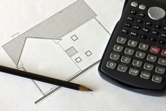 Pen, calculator and project Royalty Free Stock Photography