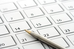 Pen on calendar 1 Stock Photos