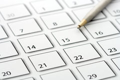Pen on calendar 2 Royalty Free Stock Images