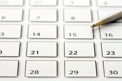 Pen on calendar 3 Stock Photography