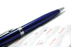 Pen on the calendar Royalty Free Stock Photo