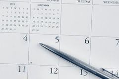 Pen on calendar Stock Photos