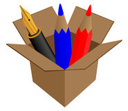 Pen in cardboard box Royalty Free Stock Photo