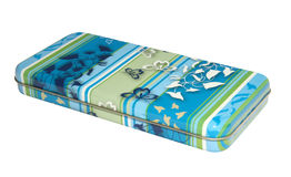 Pen case. Blue metallic pen case with butterflies and flowers - isolated on with background Stock Photos