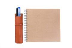Pen case and notebook Royalty Free Stock Photos