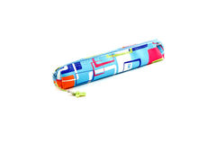 Pen-case on a white background. Close up of school supplies in pencil Stock Image