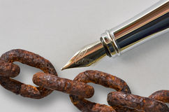 Pen and chain Royalty Free Stock Images