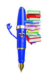 Pen Character with Books pile Royalty Free Stock Images