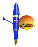 Pen Character with burger Royalty Free Stock Photography