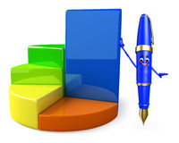 Pen Character with Business graph Stock Image