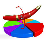 Pen Character with Business graph Royalty Free Stock Image