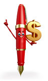 Pen Character with dollar sign Royalty Free Stock Photos