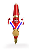 Pen Character with gold medal Stock Image