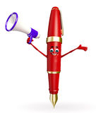 Pen Character with Loudspeaker Stock Photo