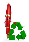 Pen Character with recycle icon Stock Photo