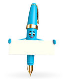 Pen Character with sign Royalty Free Stock Image
