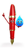 Pen Character with water drope Royalty Free Stock Image