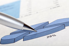 Pen on chart. Pen on financial report with chart Stock Images