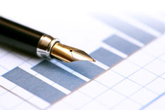 Pen On Chart Royalty Free Stock Image