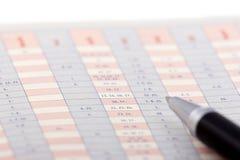 Pen on a chart stock photos