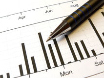 Pen and chart Royalty Free Stock Image