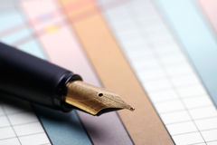 Pen and chart Royalty Free Stock Images