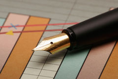 Pen and chart Stock Photography