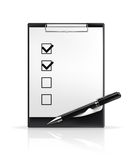 Pen and check boxes Royalty Free Stock Image